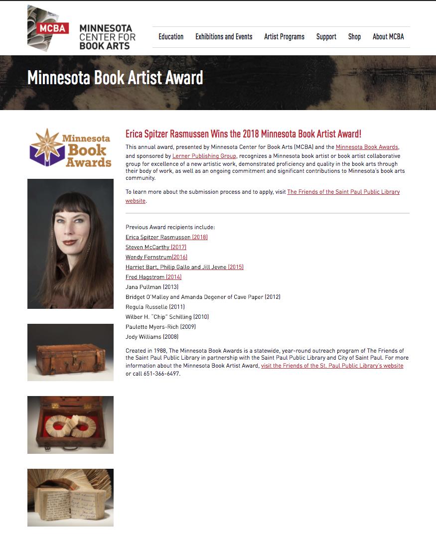 MN Book Artist Award (2018)